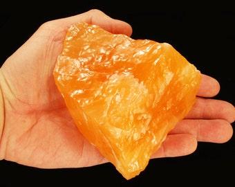 "Orange Calcite Crystal 4""-6"" Inch 1 Lb 9 Oz Sacral Chakra Raw Rocks Mineral Specimen Healing Crystals Chakra Stones Gems and Minerals"
