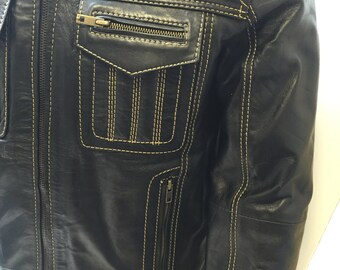 Real leather genuine biker vintage jacket