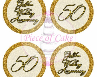 Gold Wedding Anniversary - Edible Rice Paper 24 Cupcake Toppers