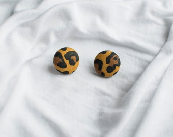 Cheetah Print Button Earrings