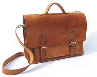 Piccadilly Case - handmade vintage style leather briefcase / messenger bag / cross body bag / satchel for men or women