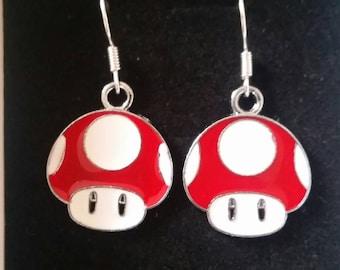 Super Mario Toadstool red earrings