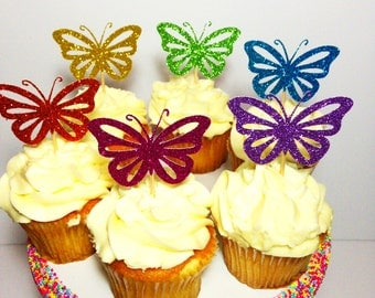 Butterfly Cupcake Toppers (Glitter Decorations, Butterfly Theme, Butterfly Party)