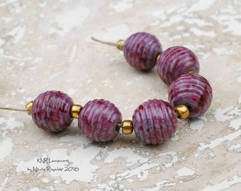 Bordeaux Ribbed Rounds Set - Handmade Lampwork Glass Beads