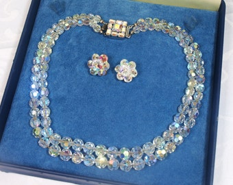 Vintage, 1950s, Aurora Borealis Double Strand Necklace & Clip On Earrings (2484)