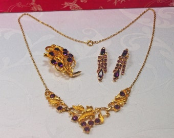 Gold Tone, Vintage, Paste Necklace, Brooch & Earrings (2331)