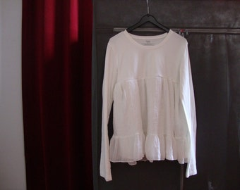 refashioned girls tunic, upcycled shirt, white cotton and chiffon size 146-154/11-12