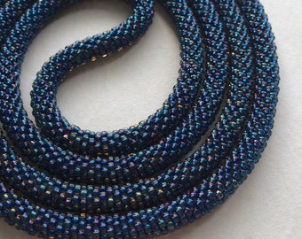 Long Beaded Crochet Rope Necklace, Beaded Lariat Necklace MADE TO ORDER