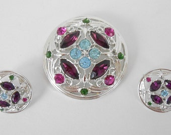 Signed Sarah Coventry Multi Colored Rhinestone Brooch Pin and Earrings Set