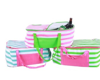 Picnic Basket, Personalized Insulated Picnic Tote striped sm204