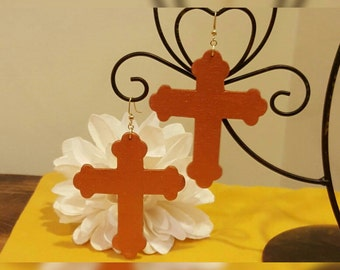 Wooden Bronze Colored Cross Earrings