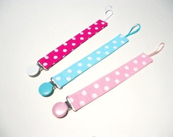 Pacifier clip girl-Girl pacifier clip-Nuk pacifier clip-Soothie pacifier holder-Polka dot baby pacifier clip