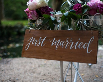 Rustic Just Married Wedding Sign. Wedding Reception Ceremony Signs. Decorative Sign.