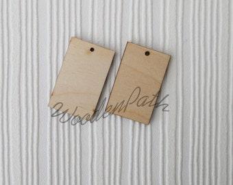 Decoupage! Plain rectangle wooden earrings