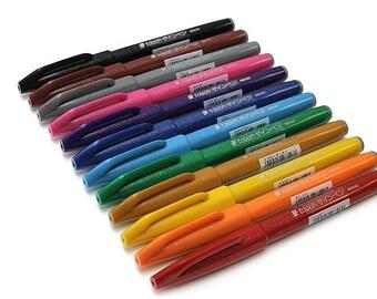 12 Full Color Set Pentel Fude Touch Sign Pen, Felt Tip Pen, Caligraphy Brush Pens