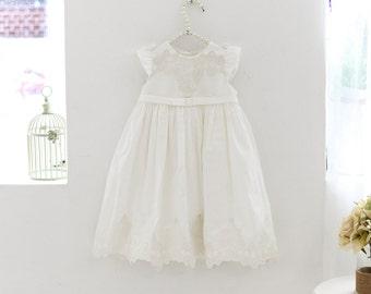 Set c-Baby Christening Dress(Bonnet+Bloomer+Longdress), Handmade, Baptism Dress, Party Dress, White Dress, Infant dress, Cotton Dress