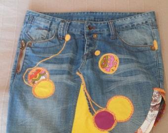 Jeans skirt yellow