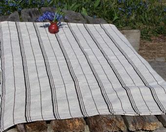 "Linen Tablecloth Natural Grey White Linen Table cloth Scandinavian Vintage Home Decor Swedish Cottage chic 146 cm x 115 cm/ 57"" x45"""