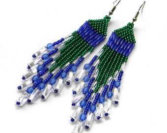 Long beaded earrings Seed bead earrings Dangle fringe earrings Sparkling earrings Bead woven earrings Boho style earrings Green blue earring