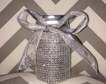 Rhinestone Encrusted Jar (Or Make Up Brush Holder)