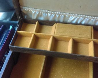 Vintage 1930s jewelry box. Yellow interior