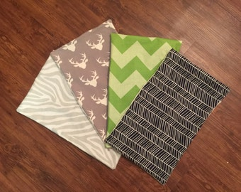 Burp Cloths, baby boy, wood, deer, chevron, modified chevron
