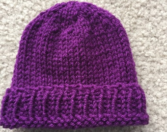 Purple Knitted Baby Hat