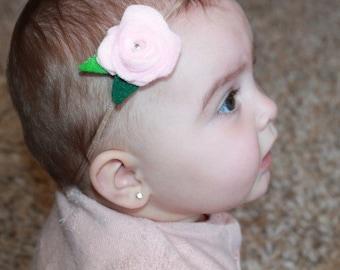 Felt pink rose flower on headband or clip