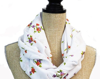 Infinity Scarf, White Scarf, Floral Scarf, Summer Scarf, Light Scarf, Fashion Scarf