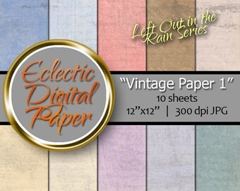 Digital Paper Vintage 1, Vintage Paper, Distressed Digital Paper, Grunge Digital Paper, Grimy Paper Pack, Dirty Colorful Digital Paper Pack