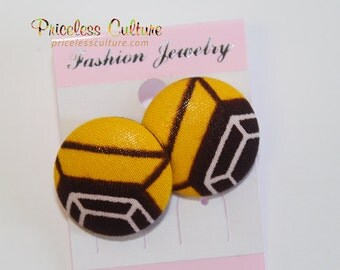 Orange African Stud Earrings Brown Spider Stud Earrings African Button Covered Earrings African tradition earrings orange Ankara Earrings