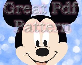 Mickey Mouse PDF Pattern, Felt Pattern, Plush Pattern