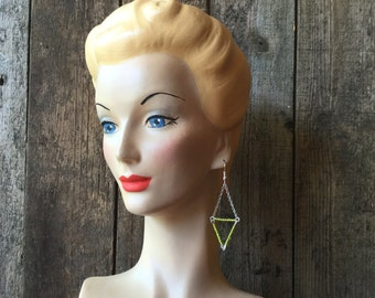 Bright Green Small Triangle Bead Earrings