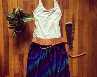 Vintage Striped Teal Blue and Purple Jantzen Wrap Skirt Elastic Waist Knee Length Pencil Skirt Diagonal Striped Skirt
