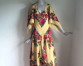 Vtg 70s hanky hem floral gauzy boho hippie stevie nicks maxi dress
