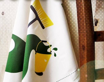 tea towel green yellow