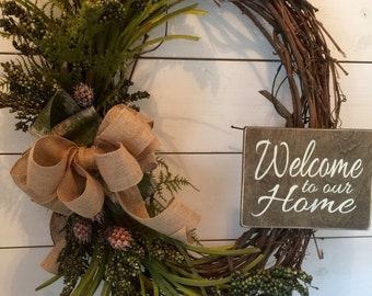 Extra Large Wreath, Large Wreath, Oval Wreath, Door Wreath, Distressed Sign,