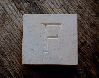 Letter 'F' Hand Carved In Beautiful White Portland Stone Standing Stone Fossil Tablet Everlasting Wedding Christening Gift Personalised Art