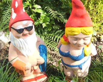 Latex moulds or molds for a beach and bikini garden gnome
