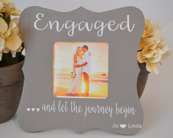 Engagement picture frame, custom picture frame, wedding picture frame, wedding gift, personalized picture frame, picture frame