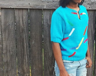 Vintage 1980s Knit Sweater, Short Sleeve, Aqua Blue Multi Color, Abstract Print,  Size Large