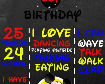 Mickey Mouse 1st birthday chalkboard