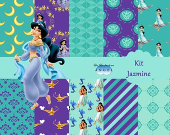 Kit of digital Papers Party Princess Jazmine/digital Paper kit Party Princess Jazmin