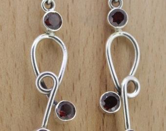92.5 Sterling Silver Earrings - Garnet