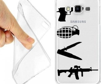 Clear hard case cover for samsung galaxy weapons love a7