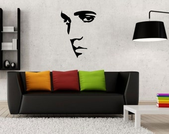 Elvis Presley wall decal vinyl sticker wall art mural available in 6 different sizes and 30 different colors