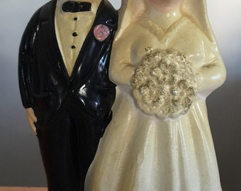Vintage ceramic couple just married BEFORE together for life AFTER marriage aging anniversary wedding gift