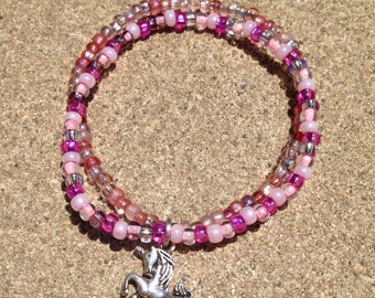 Assorted Pink Seed Bead Bracelet With Unicorn Charm
