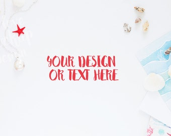 Pearl, Red Starfish, Sea Anchor, Shells, on a White Desktop / Marine Mock up/ Stock Photography / Product Mockup / High Res File