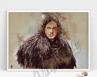 Jon Snow Poster, Game of Thrones Art Poster, Watercolor Painting, Stark Jon Snow Watercolor Art Print, Game of Trones, Jon Snow Print